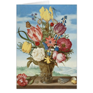 Bouquet of Flowers on a Ledge Card