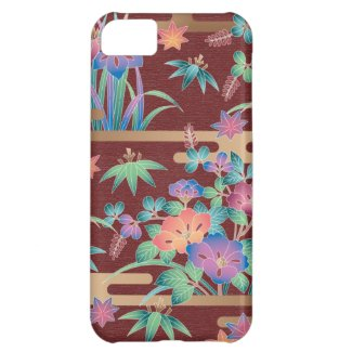 Bouquet of flowers on a maroon background iPhone 5C cases