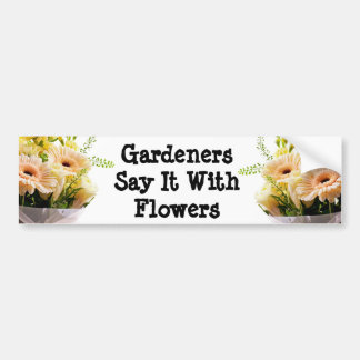 Bouquet of flowers on white background car bumper sticker