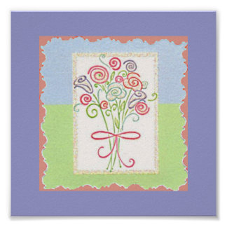 Bouquet of Flowers Tied Up in a Ribbon Bow Poster