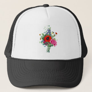 Bouquet of Foxglove, Poppy and Peonies by Prevost Trucker Hat