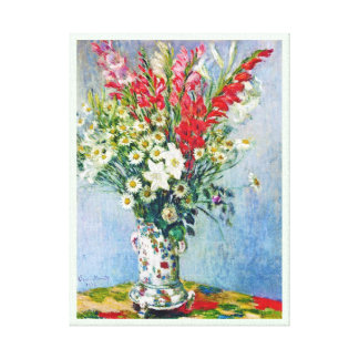 Bouquet of Gadiolas Lilies and Dasies Claude Monet Gallery Wrapped Canvas