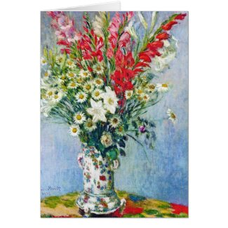 Bouquet of Gadiolas Lilies and Dasies Claude Monet Card
