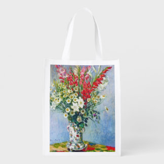 Bouquet of Gadiolas Lilies and Dasies Claude Monet Grocery Bag