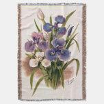 Bouquet of Japanese Irises Antique Engraving Throw Blanket