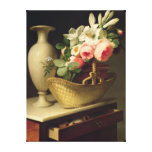 Bouquet of Lilies and Roses in a Basket, 1814 Stretched Canvas Print