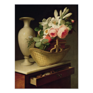 Bouquet of Lilies and Roses in a Basket, 1814 Poster