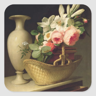Bouquet of Lilies and Roses in a Basket, 1814 Square Sticker
