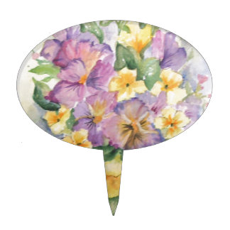 Bouquet of pansies cake toppers