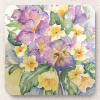 Bouquet of pansies drink coaster