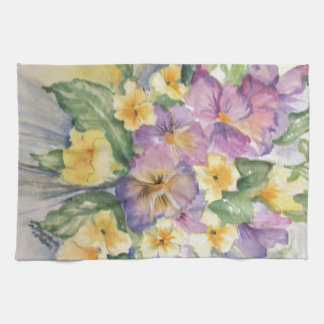 Bouquet of pansies hand towels