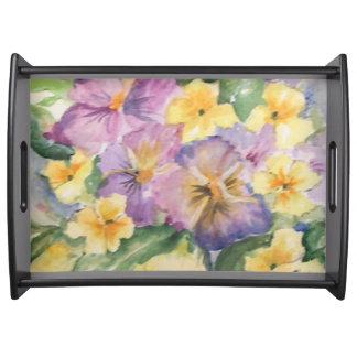 Bouquet of pansies serving platters