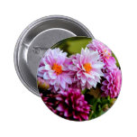 Bouquet of pink and purple flowers button