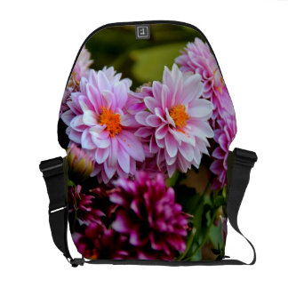 Bouquet of pink and purple flowers messenger bags