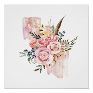 Bouquet of Pink Gouache Roses Poster Print