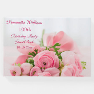 Bouquet Of Pink Roses 100th Birthday Guest Book