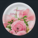 "Bouquet Of Pink Roses 100th Birthday Paper Plate<br><div class=""desc"">Elegant personalized / personalised custom 100th birthday party celebration paper plates for women and girls. On the front of these glamorous feminine birthday party plates is a beautiful image of a bouquet of open and closed pink roses with some greenery, held together with a pink silk ribbon and bow. ....</div>"