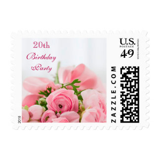 Bouquet Of Pink Roses 20th Birthday Postage