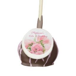 Bouquet Of Pink Roses 45th Birthday Cake Pops