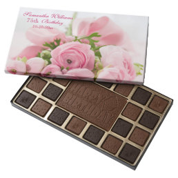 Bouquet Of Pink Roses 75th Birthday 45 Piece Box Of Chocolates