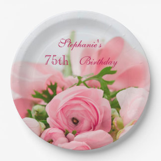 Bouquet Of Pink Roses 75th Birthday Paper Plate
