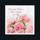 "Bouquet Of Pink Roses 90th Birthday Paper Napkins<br><div class=""desc"">Elegant personalized / personalised custom 90th birthday party celebration serviettes for women and girls. On the front of these glamorous feminine birthday party paper serviettes is a beautiful image of a bouquet of open and closed pink roses with some greenery, held together with a pink silk ribbon and bow. This...</div>"