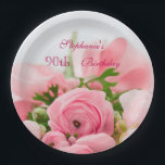 "Bouquet Of Pink Roses 90th Birthday Paper Plate<br><div class=""desc"">Elegant personalized / personalised custom 90th birthday party celebration paper plates for women and girls. On the front of these glamorous feminine birthday party plates is a beautiful image of a bouquet of open and closed pink roses with some greenery, held together with a pink silk ribbon and bow. ....</div>"