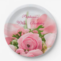 Bouquet Of Pink Roses 90th Birthday Paper Plate