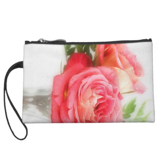 Bouquet Of Pink Roses in a Vase Wristlet Clutches