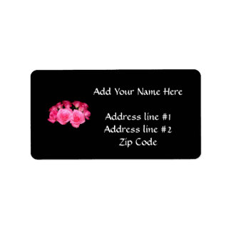Bouquet of pink roses label