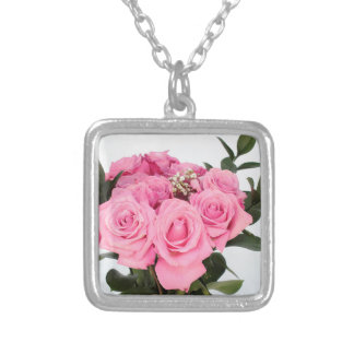 Bouquet of Pink Roses on a White Background Silver Plated Necklace