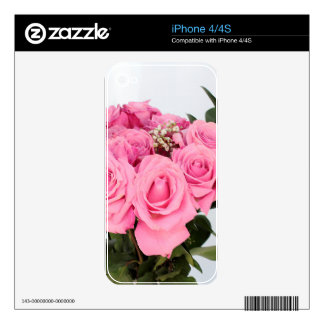 Bouquet of Pink Roses on a White Background Skins For iPhone 4