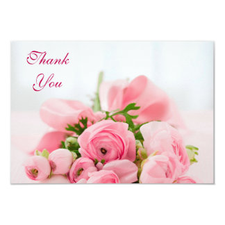 Bouquet Of Pink Roses Thank You Card