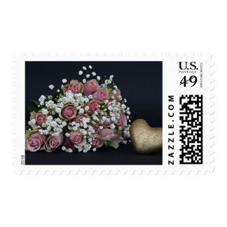 Bouquet of Pink & White Wedding Roses Stamp
