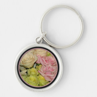 Bouquet of pink, yellow & peach roses key chain