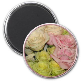 Bouquet of pink, yellow & peach roses magnet