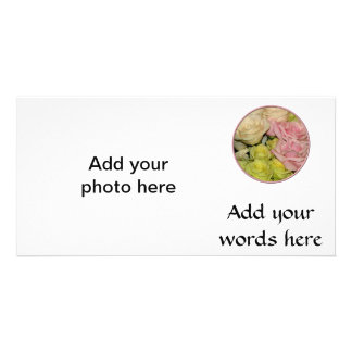 Bouquet of pink, yellow & peach roses custom photo card