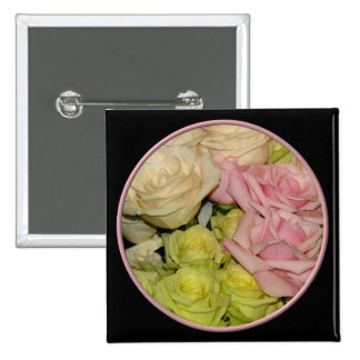 Bouquet of pink, yellow & peach roses pin