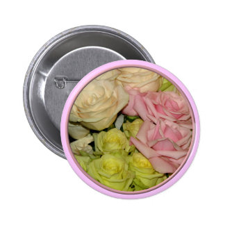 Bouquet of pink, yellow & peach roses pins