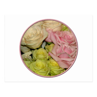 Bouquet of pink, yellow & peach roses postcard