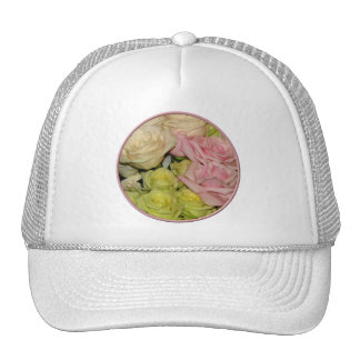 Bouquet of pink, yellow & peach roses trucker hat