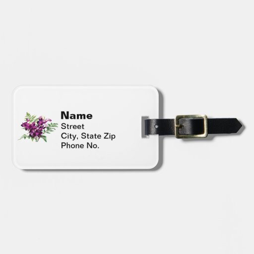 Bouquet of Purple Orchids With Ferns Bag Tag