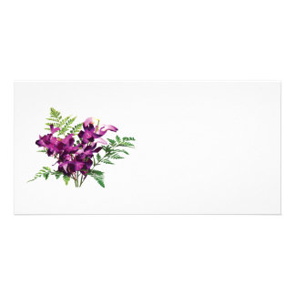 Bouquet of Purple Orchids With Ferns Photo Card