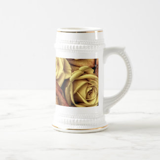 Bouquet of Red and White Roses in Full Bloom Beer Stein