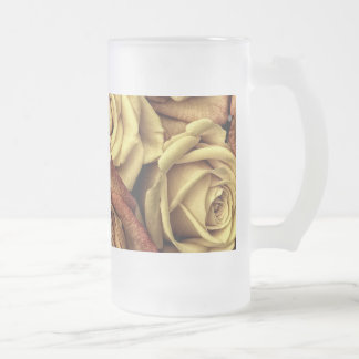Bouquet of Red and White Roses in Full Bloom Frosted Glass Beer Mug