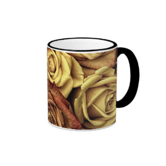 Bouquet of Red and White Roses in Full Bloom Coffee Mugs