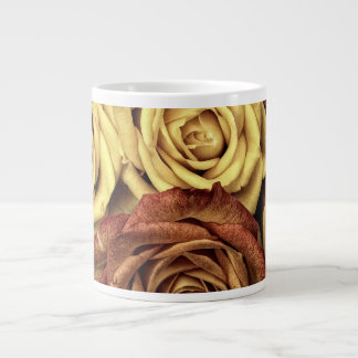 Bouquet of Red and White Roses in Full Bloom Jumbo Mug
