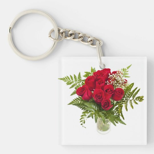 Bouquet of red roses keychain
