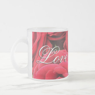 Bouquet of Red Roses Love Personalized Frosted Glass Coffee Mug