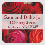 Bouquet of Red Roses Wedding Return Address Square Stickers
